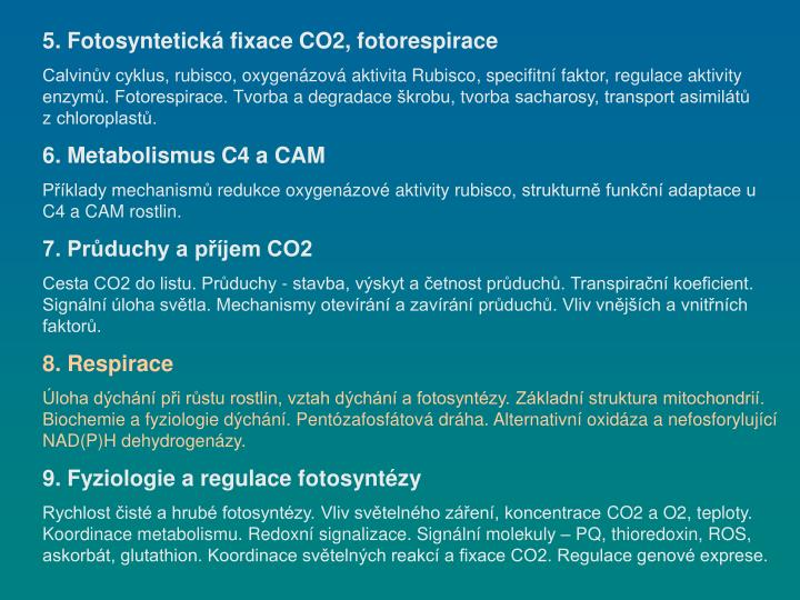 5. Fotosyntetická fixace CO2