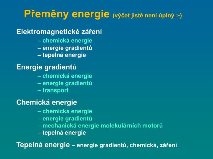 Přeměny energie