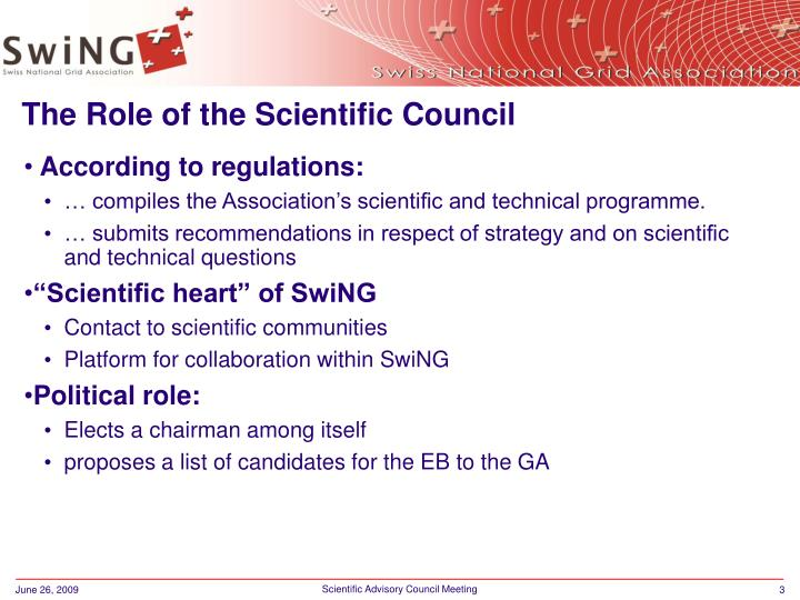 The role of the scientific council