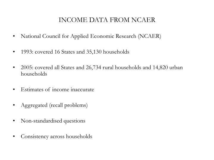 INCOME DATA FROM NCAER