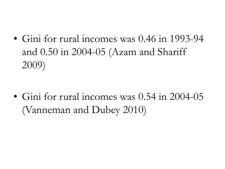 Gini for rural incomes was 0.46 in 1993-94 and 0.50 in 2004-05 (Azam and Shariff 2009)