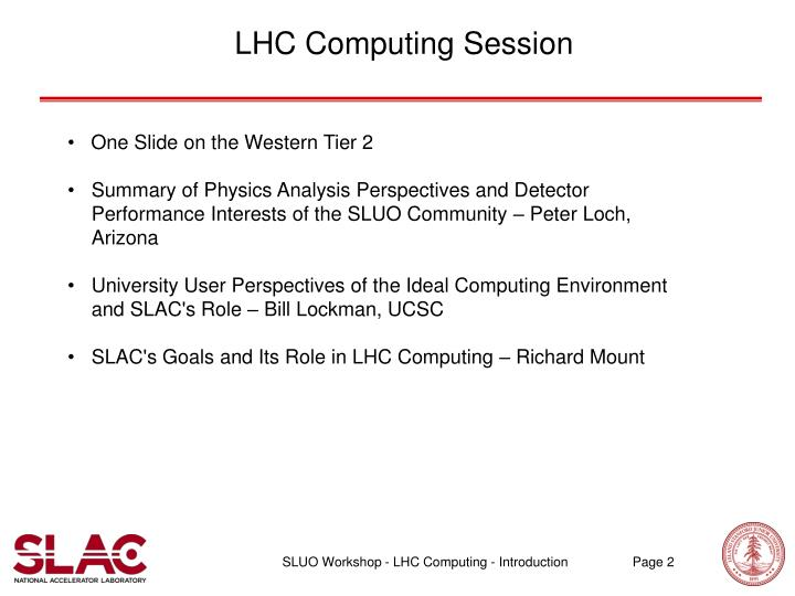 LHC Computing Session