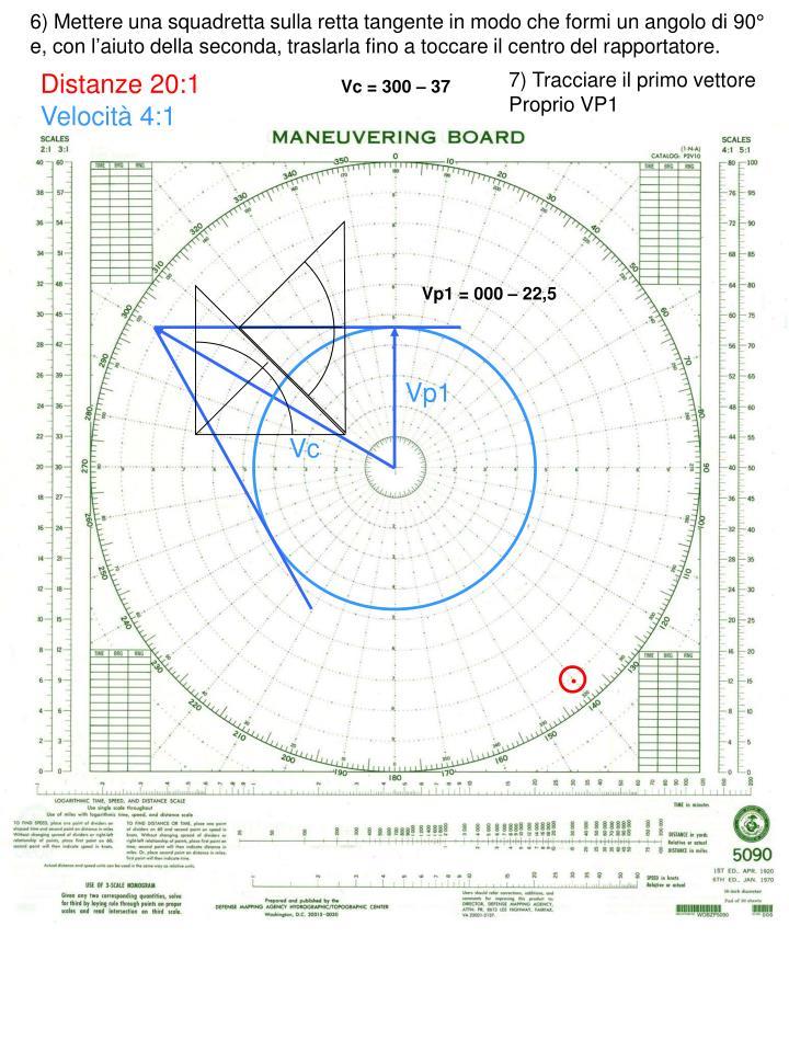 6) Mettere una squadretta sulla retta tangente in modo che formi un angolo di 90° e, con l'aiuto della seconda, traslarla fino a toccare il centro del rapportatore.