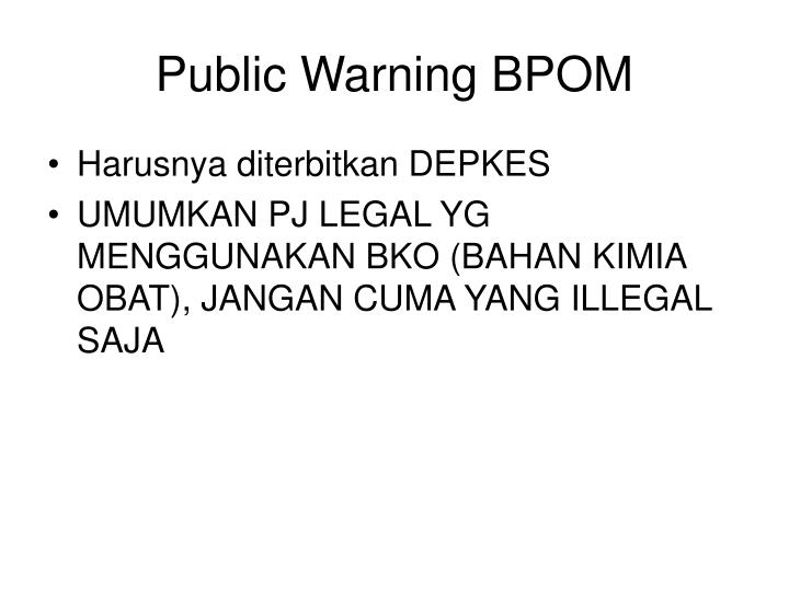 Public Warning BPOM