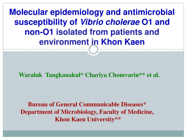 Molecular epidemiology and antimicrobial susceptibility of