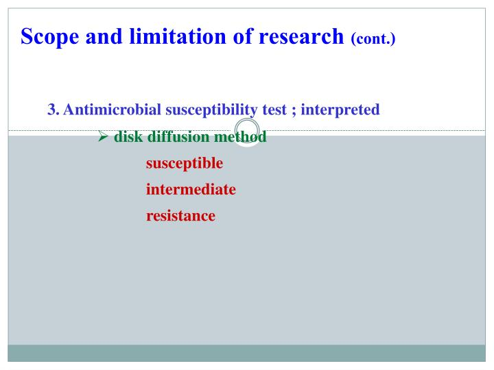 Scope and limitation of research