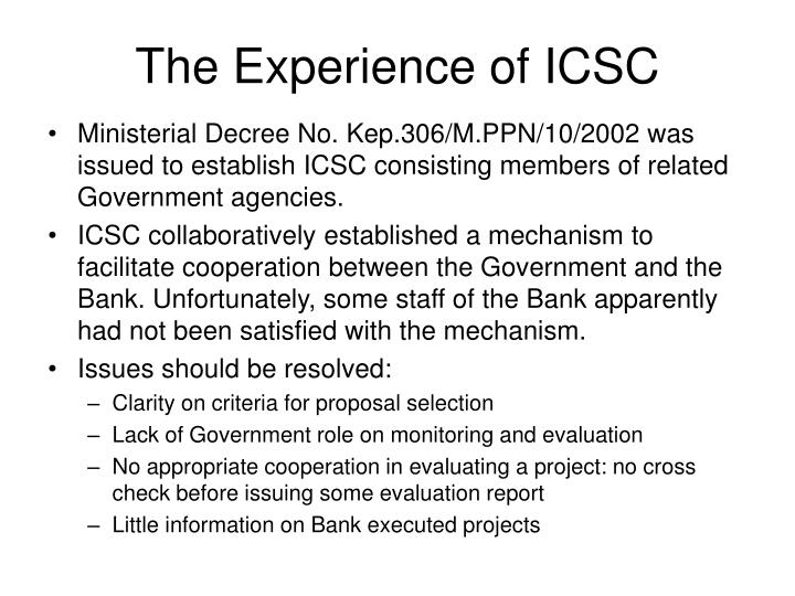 The Experience of ICSC