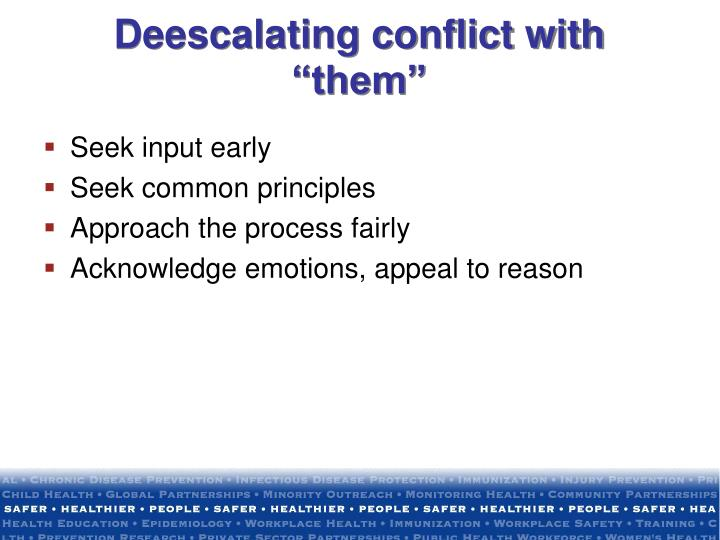 "Deescalating conflict with ""them"""