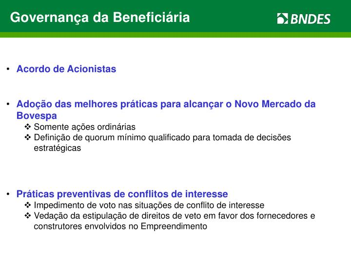 Governança da Beneficiária