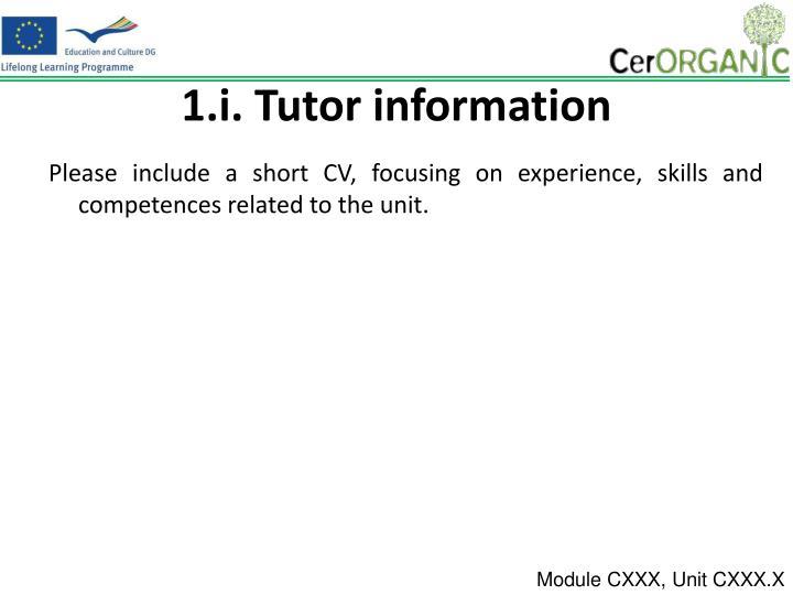 1.i. Tutor information