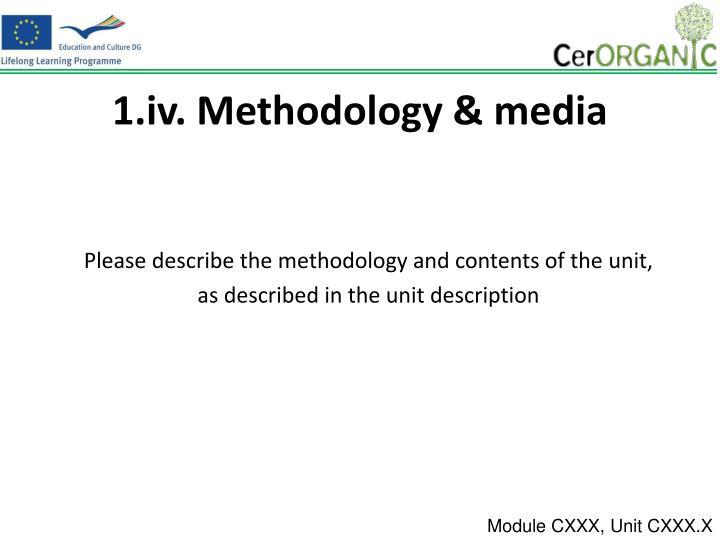 1.iv. Methodology & media