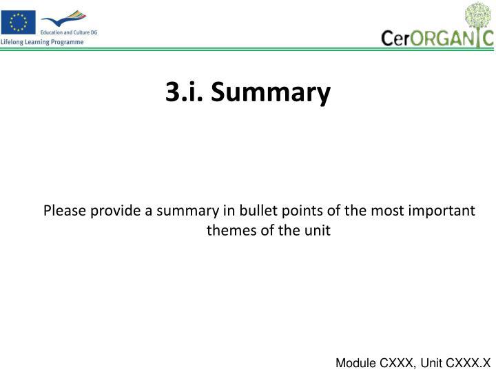 3.i. Summary