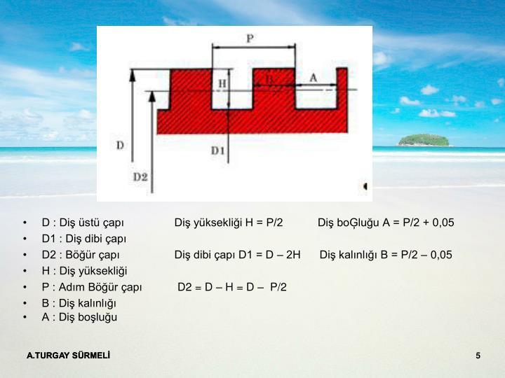 D : Diş üstü çapı Diş yüksekliği H = P/2           Diş boĢluğu A = P/2 + 0,05