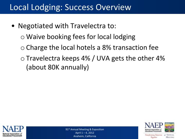 Local Lodging: Success Overview