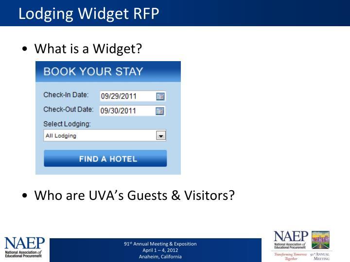 Lodging Widget RFP