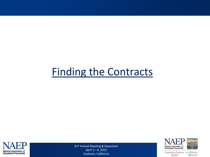 Finding the Contracts