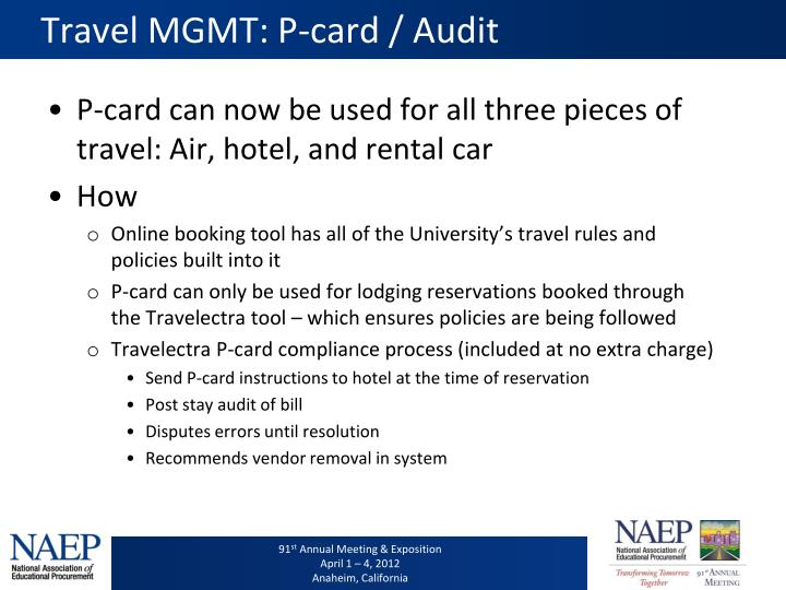 Travel MGMT: P-card / Audit