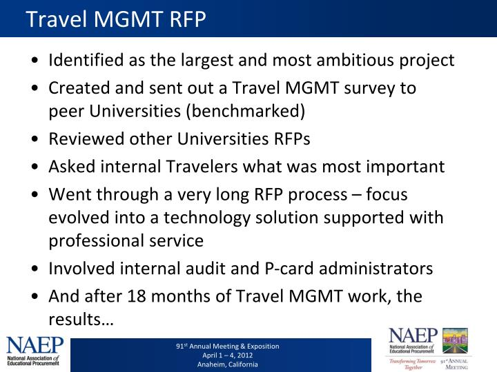 Travel MGMT RFP