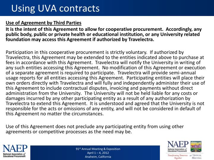 Using UVA contracts