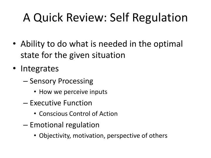 A Quick Review: Self Regulation