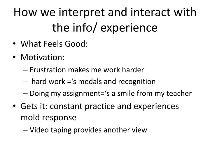 How we interpret and interact with the info/ experience
