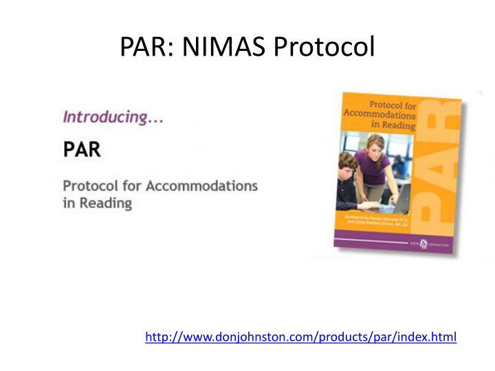 PAR: NIMAS Protocol
