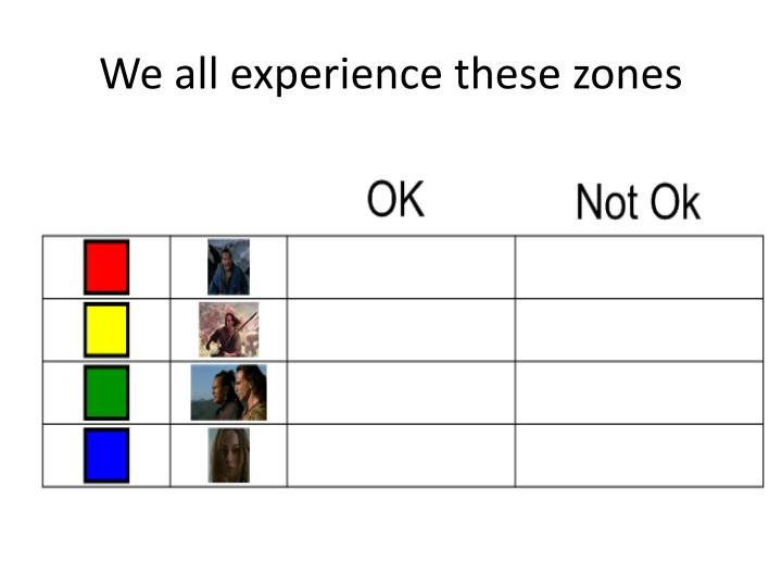 We all experience these zones
