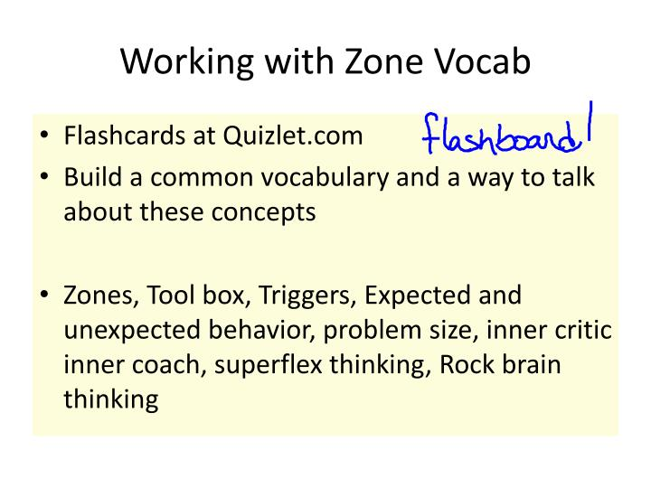 Working with Zone Vocab