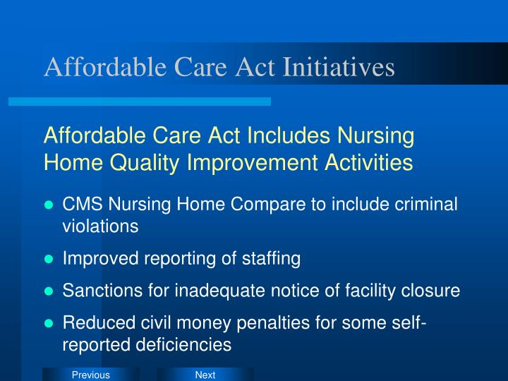 Affordable Care Act Initiatives