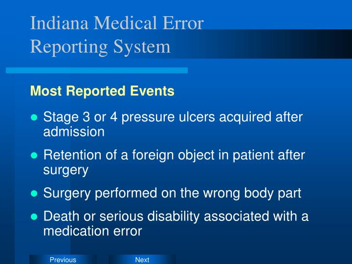 Indiana Medical Error