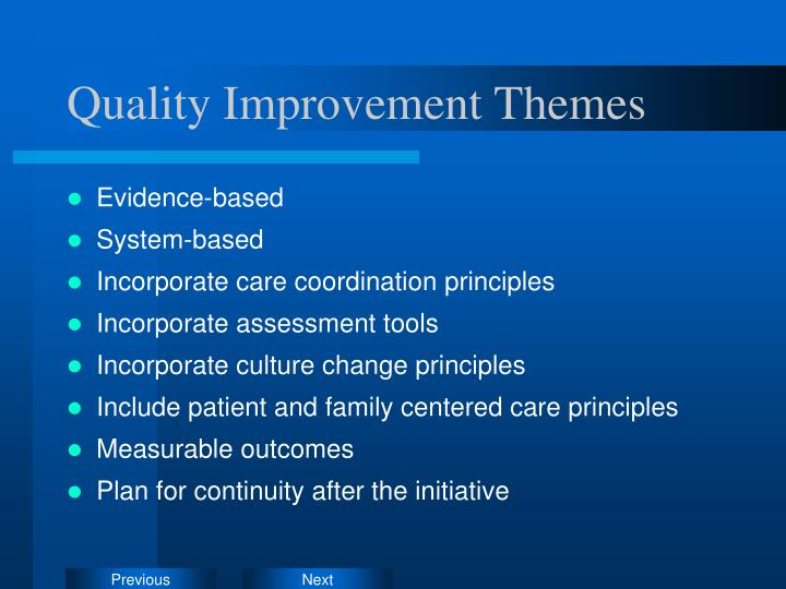 Quality Improvement Themes