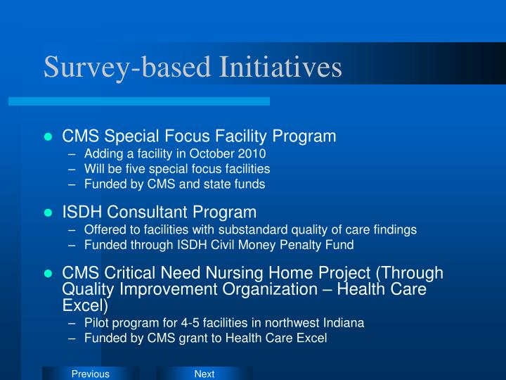 Survey-based Initiatives