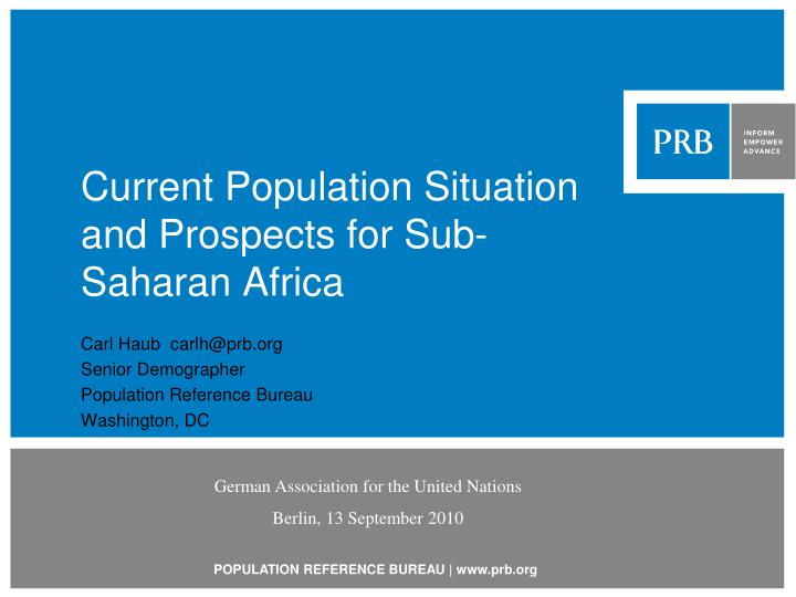 Current population situation and prospects for sub saharan africa