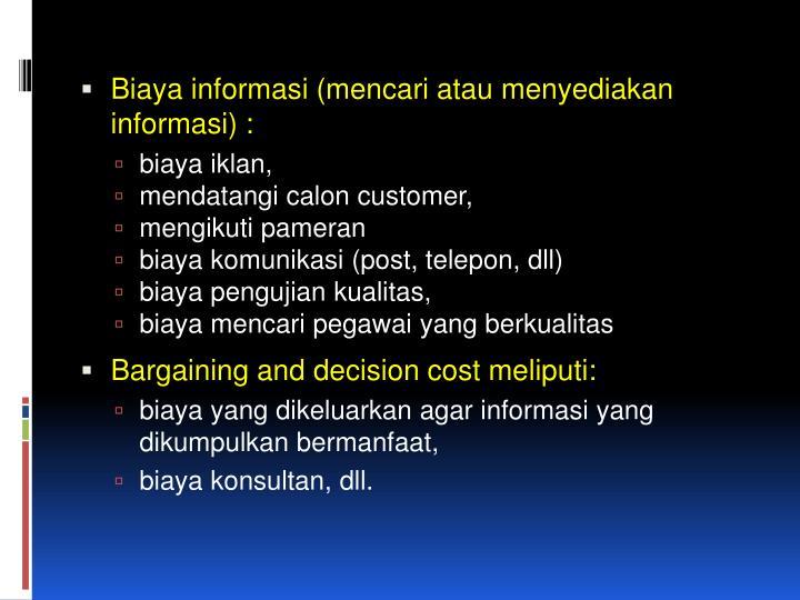 Biaya informasi (mencari atau