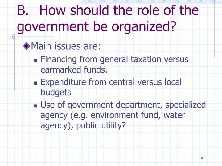 B.	How should the role of the  government be organized?