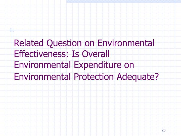 Related Question on Environmental Effectiveness: Is Overall Environmental Expenditure on Environmental Protection Adequate?