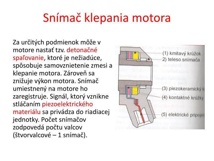 Snímač klepania motora