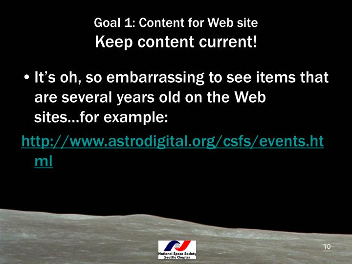 Goal 1: Content for Web site