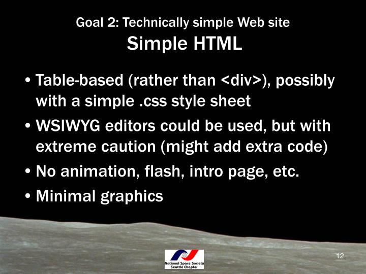Goal 2: Technically simple Web site