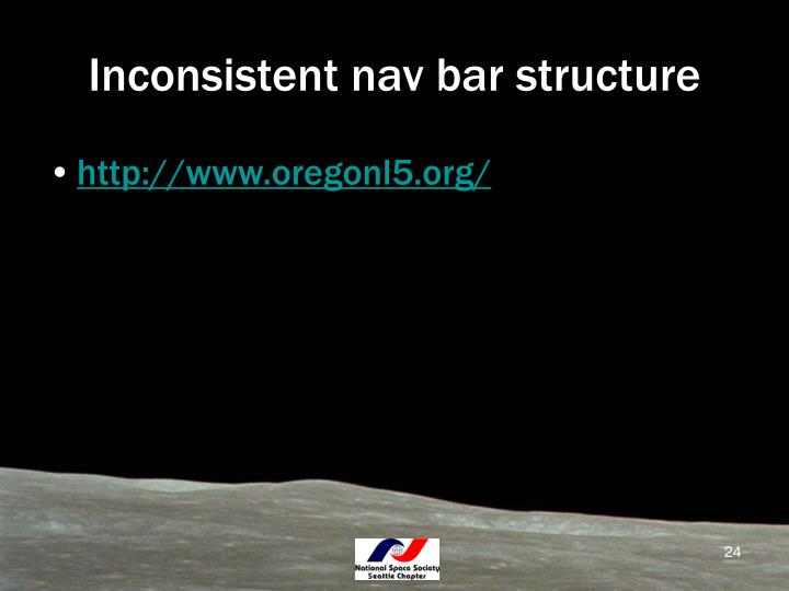 Inconsistent nav bar structure