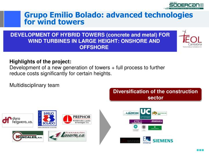 Grupo Emilio Bolado: advanced technologies for wind towers
