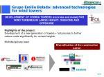 grupo emilio bolado advanced technologies for wind towers