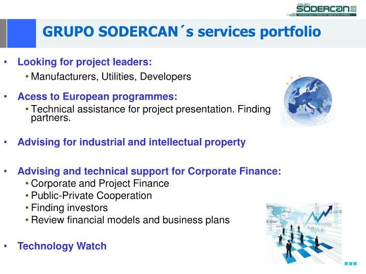 GRUPO SODERCAN´s services portfolio