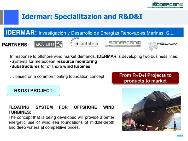 Idermar: Specialitazion and R&D&I