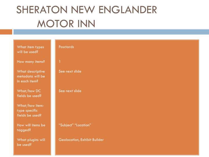 SHERATON NEW ENGLANDER MOTOR INN