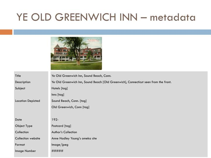 YE OLD GREENWICH INN – metadata