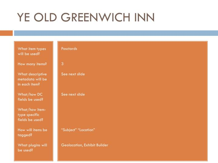 YE OLD GREENWICH INN
