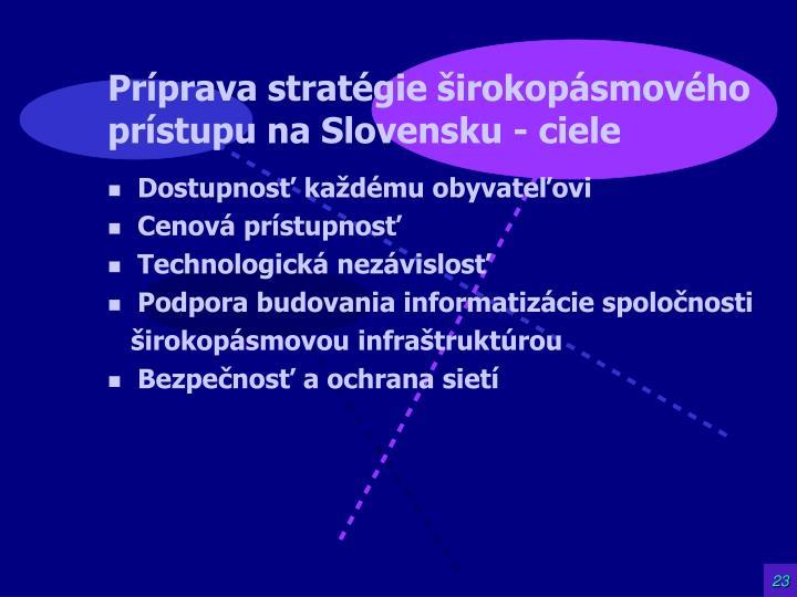 Príprava stratégie širokopásmového prístupu na Slovensku - ciele