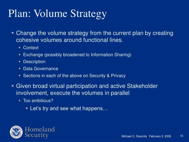 Change the volume strategy from the current plan by creating cohesive volumes around functional lines.