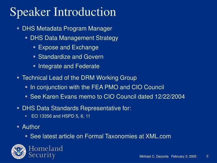 DHS Metadata Program Manager
